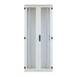 Steel Door Perforated 2-Part for Standard Cabinet 42U, Width 600 mm, 3-Pt.-Locking