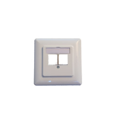 2-Port Frame Set for Keystone, straight outlet DIN49075, RAL9003 signal white