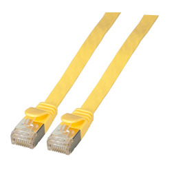 RJ45 Flat patch cable U/FTP, Cat.6A, PVC, yellow