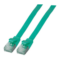 RJ45 Flat patch cable U/FTP, Cat.6A, PVC, green