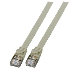 RJ45 Flat patch cable U/FTP, Cat.6A, PVC, grey