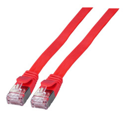 RJ45 Flat patch cable U/FTP, Cat.6A, PVC, red