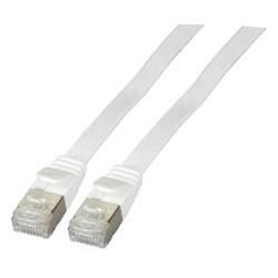 RJ45 Flat patch cable U/FTP, Cat.6A, PVC, white
